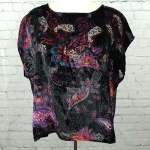 ECOTÉ | velvet burnout boxy crop paisley blouse